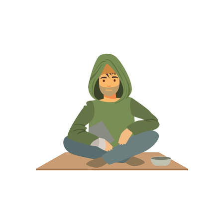 Young homeless man character sitting on the street with cup for money, unemployment male beggar needing help vector illustration Illustration