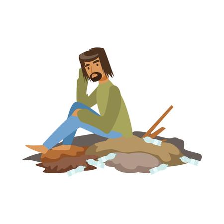 Dakloze man smeek in straat, werkloosheid man hulp nodig vector illustratie Stock Illustratie