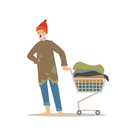 Homeless man character pushing shopping cart with his possessions, unemployment male beggar needing help vector illustration