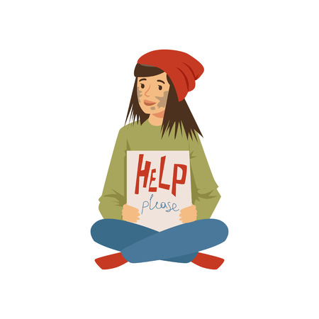Homeless young woman character sitting on the street and holding signboard asking for help, unemployment man needing help vector illustration