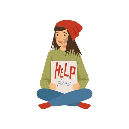 Obdachloser Charakter der jungen Frau, der auf der Straße sitzt und das Schild bitten um Hilfe, Arbeitslosenmann benötigt Hilfevektorillustration hält Standard-Bild - 86639428