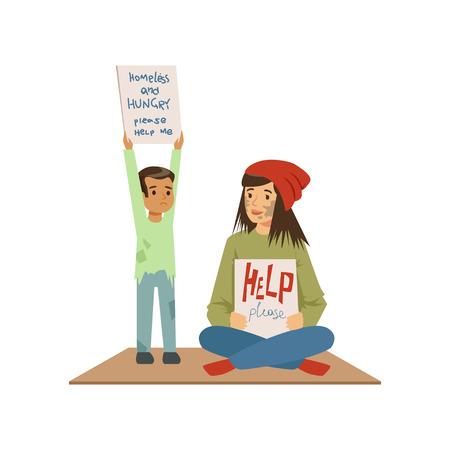 노숙자의 여자와 도움을 필요로하는 거리에서 구걸하는 소년 도움이 필요한 실업자 벡터 일러스트 레이 션