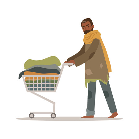 Homeless black man character pushing shopping cart with his possessions, unemployment male beggar needing help vector illustration