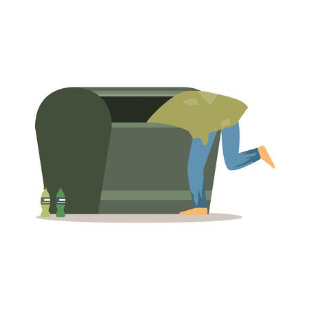 Jong daklozen man karakter op zoek naar voedsel in een vuilnis, werkloze man hulp nodig vector illustratie Stock Illustratie