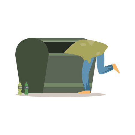 Young homeless man character looking for food in a garbage, unemployment man needing help vector illustration Иллюстрация