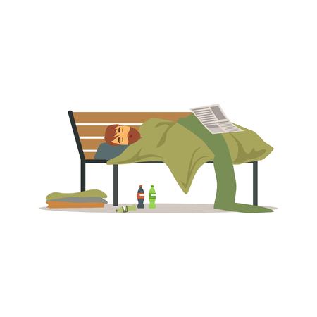 Dakloze man karakter slapen op een park bank, werkloosheid man hulp nodig vector illustratie