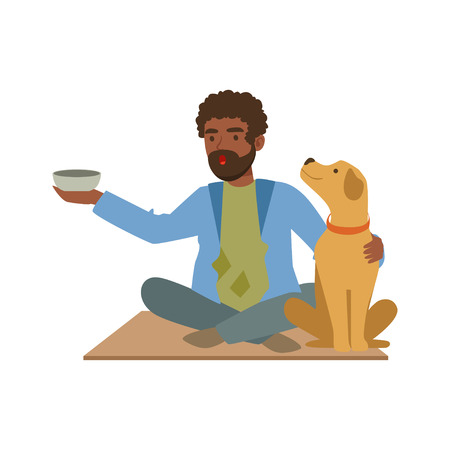 Young black homeless man character sitting on the street with his dog and cup for money, unemployment male beggar needing help vector illustration