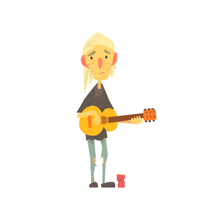 Unhappy homeless man character in ragged clothes playing guitar on the street, unemployment person needing help vector illustration