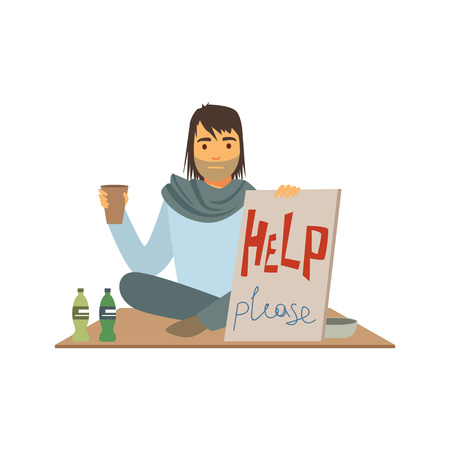 Homeless man character holding signboard asking for help, unemployment man needing help vector illustration