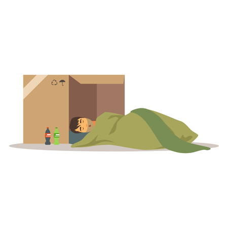Homeless man character sleeping on the street in cardboard box, unemployment man needing help vector illustration Иллюстрация