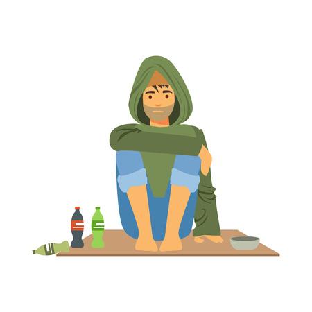 ヘルプのベクトル図を必要とする失業男、路上で座っている若いホームレスの男性キャラクター