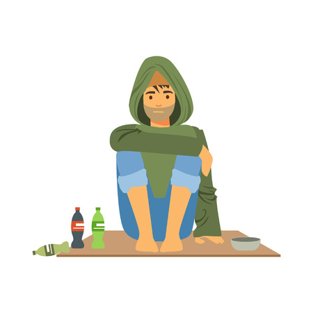 Young homeless man character sitting on the street, unemployment man needing help vector illustration