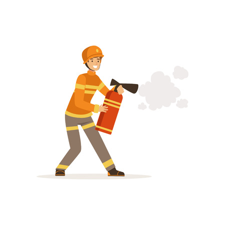 Fireman character in uniform and protective helmet spraying foam from a fire extinguisher, firefighter at work vector illustration