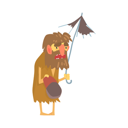 Homeless man character in dirty rags standing on the street with umbrella and cap for money, unemployment male beggar needing help vector illustration Ilustração
