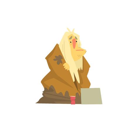 길거리에 앉아 더러운 넝마에있는 노숙자 캐릭터, 도움이 필요한 실업 남성의 거지 벡터 일러스트 레이션