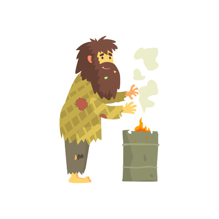 Dirty homeless man warming himself near the fire, unemployment people needing help vector illustration