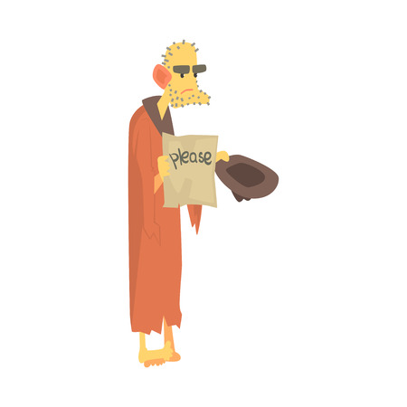 Unhappy homeless man character in ragged clothes standing on the street with hat for money, unemployment person needing help vector illustration