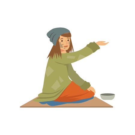 Homeless young woman character sitting on the street asking for help, unemployment man needing help vector illustration