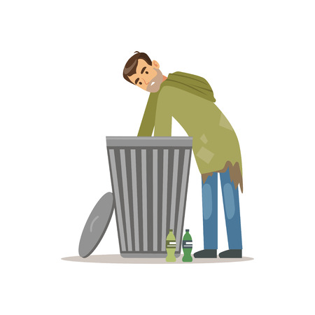 Young homeless man character looking for food in a trash can, unemployment man needing help vector illustration Фото со стока