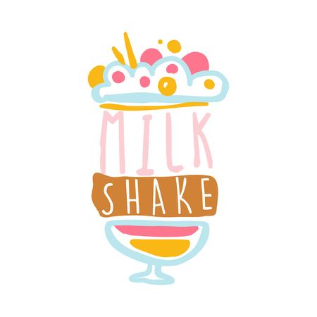 ミルク シェークのロゴのテンプレート、レストラン、バー、カフェ、メニューの菓子屋、カラフルなバッジ手描画ベクトル図  イラスト・ベクター素材