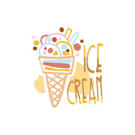 Ice cream logo template, element for restaurant, bar, cafe, menu, sweet shop, colorful hand drawn vector illustration