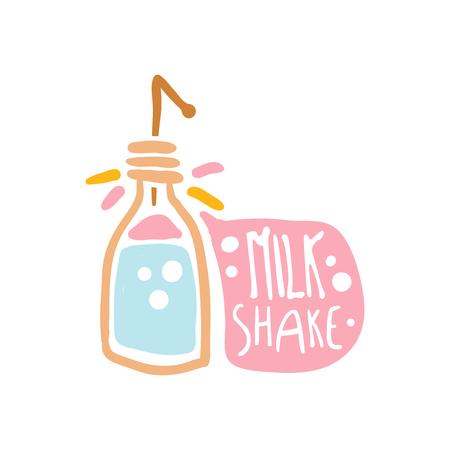 Plantilla de logotipo colorido batido de leche, elemento para restaurante, bar, cafetería, menú, tienda de dulces, dibujado a mano ilustración vectorial Foto de archivo - 86956656
