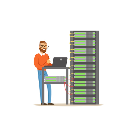 Network engineer administrator working in data center using laptop to analyze system, server maintenance support vector illustration