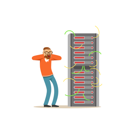 Anxiety technical specialist repairing server hardware equipment in the data center vector illustration