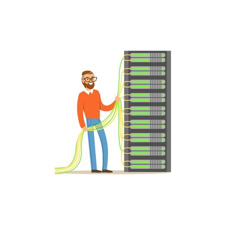 System administrator, server admin working with hardware equipment of data center, server maintenance support vector illustration