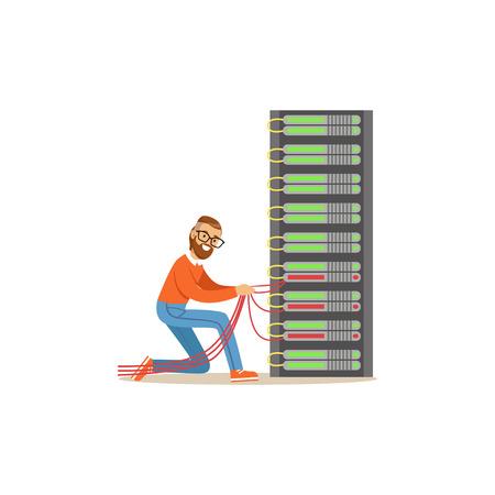 Network engineer administrator working in data center, server rack networking service vector illustration