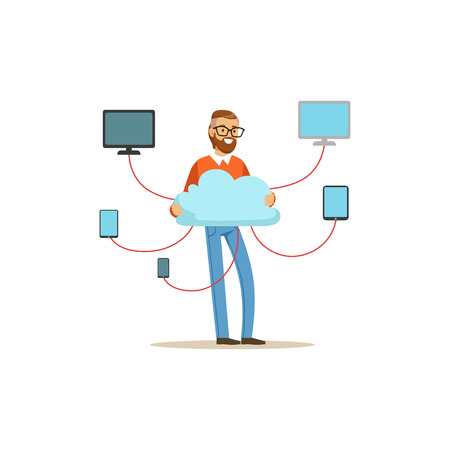 Network engineer administrator working in data center, cloud computer connection hosting server database synchronize technology vector illustration