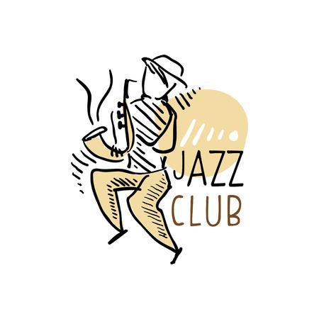 Jazz club, vintage muziek label met saxofonist, element voor flyer, kaart, folder of banner, hand getrokken vector Illustrati Stock Illustratie