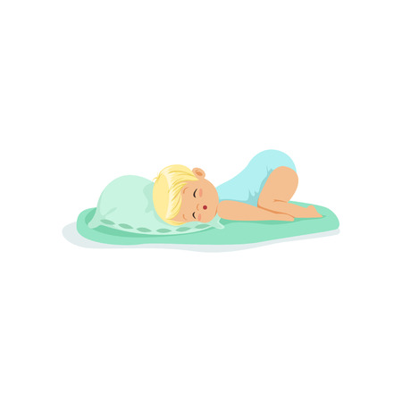 lying in bed: Adorable little kid sleeping on a pillow cartoon character vector illustration Illustration