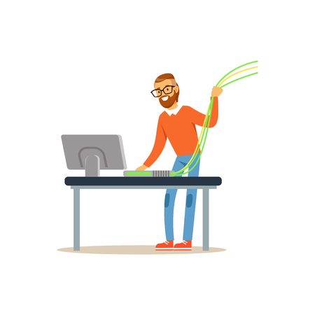 Engineer system IT administrator working with a computer, networking service vector illustration Vectores