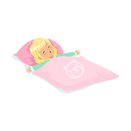 lying in bed: Sweet blonde little girl sleeping on her bed cartoon character vector illustration