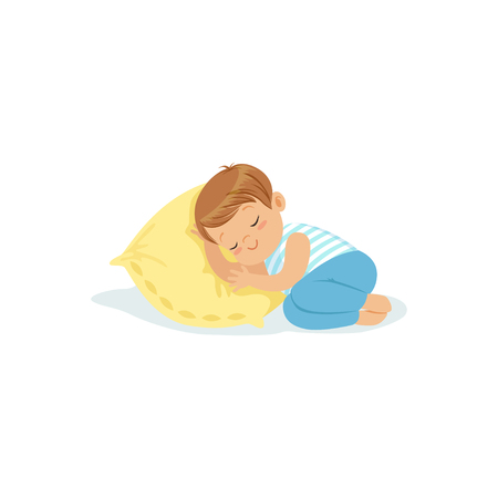 lying in bed: Cute little boy sleeping on a pillow cartoon character, adorable sleeping child vector illustration