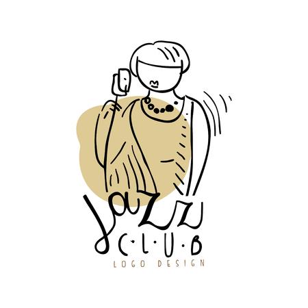 Jazz club ontwerp, vintage muziek label, element voor flyer, kaart, folder of banner, hand getrokken vector illustratie geïsoleerd op een witte achtergrond