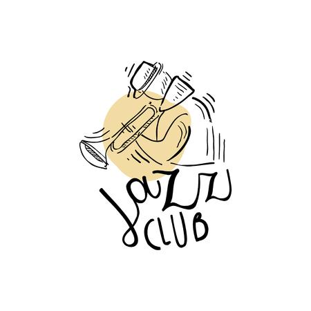 Jazzclub, uitstekend muzieketiket, element voor vlieger, kaart, pamflet of banner, hand getrokken vectorillustratie
