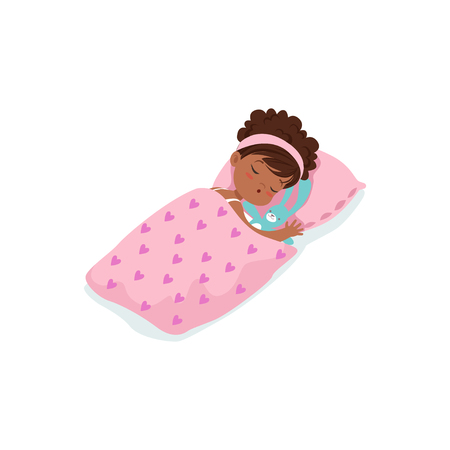 Adorable african little girl sleeping on her bed cartoon character vector illustration Illustration