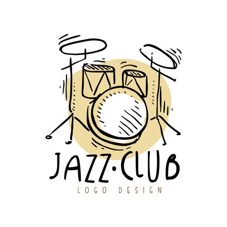 Jazzclubontwerp, uitstekend muzieketiket met trommeluitrusting, element voor vlieger, kaart, pamflet of banner, hand getrokken vectorillustratie Stock Illustratie