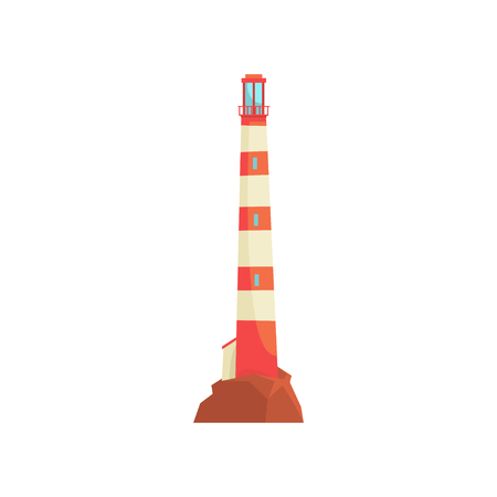 Red and white lighthouse, tower with a beam of searchlight for marine navigation vector Illustration