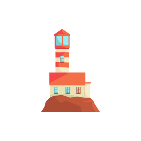 Red lighthouse, searchlight tower for maritime navigation guidance vector Illustration Illustration