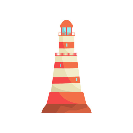Red and white striped lighthouse, searchlight tower for maritime navigation guidance vector Illustration Illustration