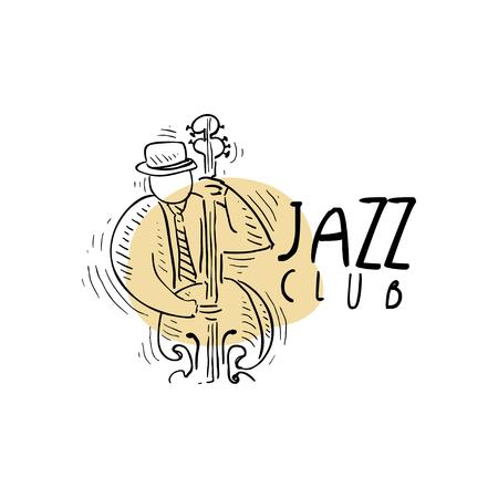 Jazz club, vintage muziek label met saxofonist spelen saxofoon, element voor flyer, kaart, folder of banner, hand getrokken vector illustratie