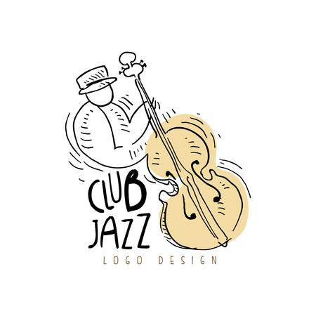 Jazzclubontwerp, uitstekend muzieketiket met cellist, element voor vlieger, kaart, pamflet of banner, hand getrokken vectorillustratie Stock Illustratie