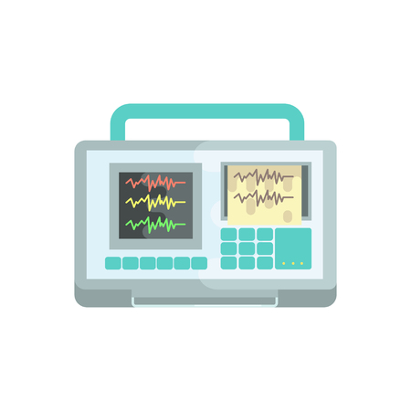 Ecg machine, medical equipment vector Illustration