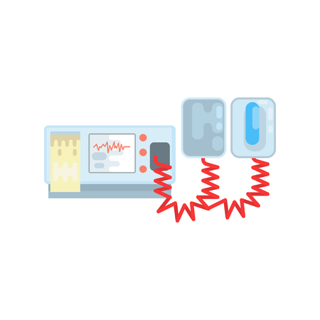 Automated external defibrillator, AED medical equipment vector Illustration