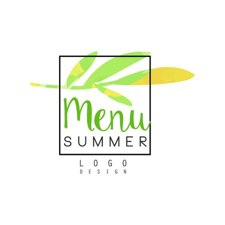 Summer menu logo design, badge for healthy food and drinks, vegetarian restaurant and bar menu, fruit market, organic products, watercolor vector Illustration Ilustração