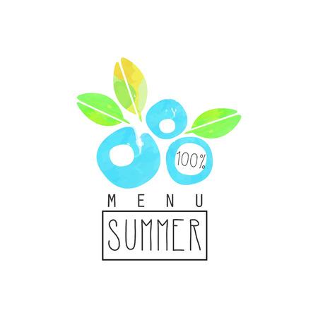 Summer menu logo, element for healthy food and drinks, vegetarian restaurant and bar menu, fruit market, organic products, watercolor vector Illustration