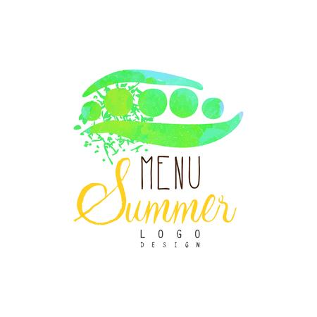 Summer menu logo design, label for vegetarian restaurant and cafe menu, fruit market, organic products, watercolor vector Illustration